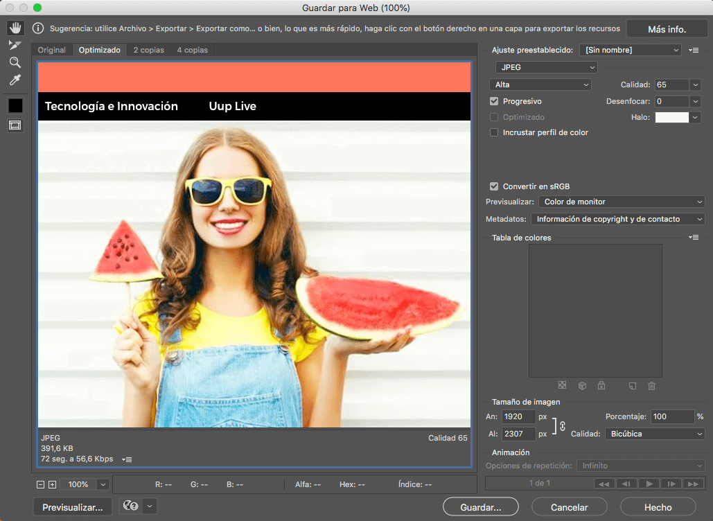 Optimizar imagen web photoshop