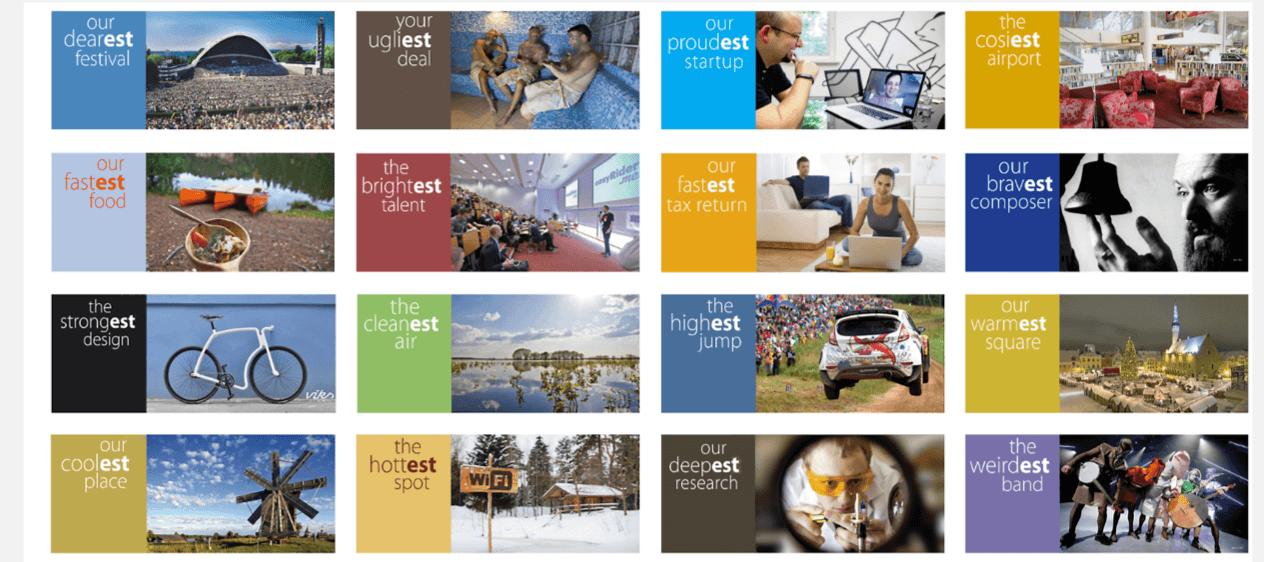 Cartelería y mensajes de Estonia. Más que marca ciudad, en este caso marca país.