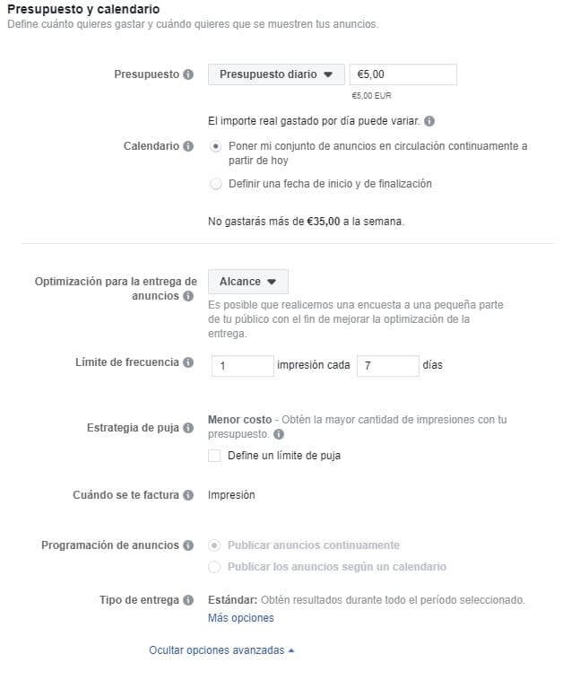 Ejemplo presupuesto anuncios instagram stories Uup