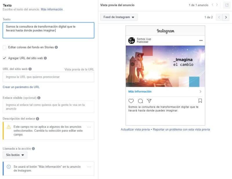 Ejemplo anuncio instagram stories Uup