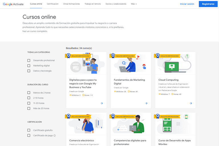 Google actívate es una buena opción para empezar a formarte en marketing digital