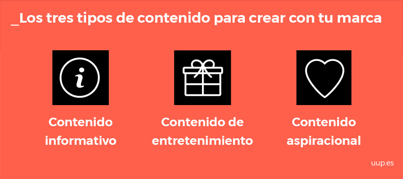 EStos son los tres tipos de contenido que puedes crear con tu marca